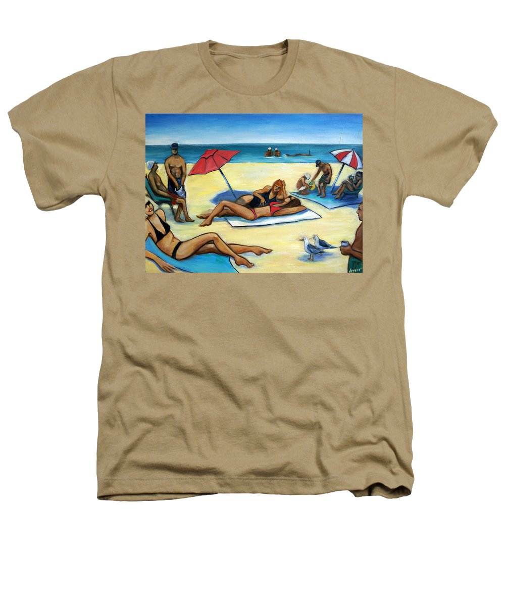 Beach Scene Heathers T-Shirt featuring the painting The Beach by Valerie Vescovi