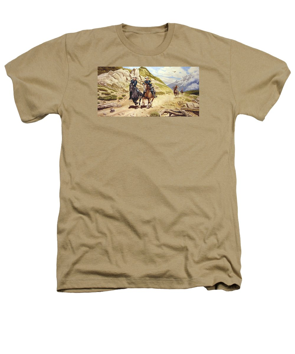 Western Heathers T-Shirt featuring the painting The Chase by Marc Stewart