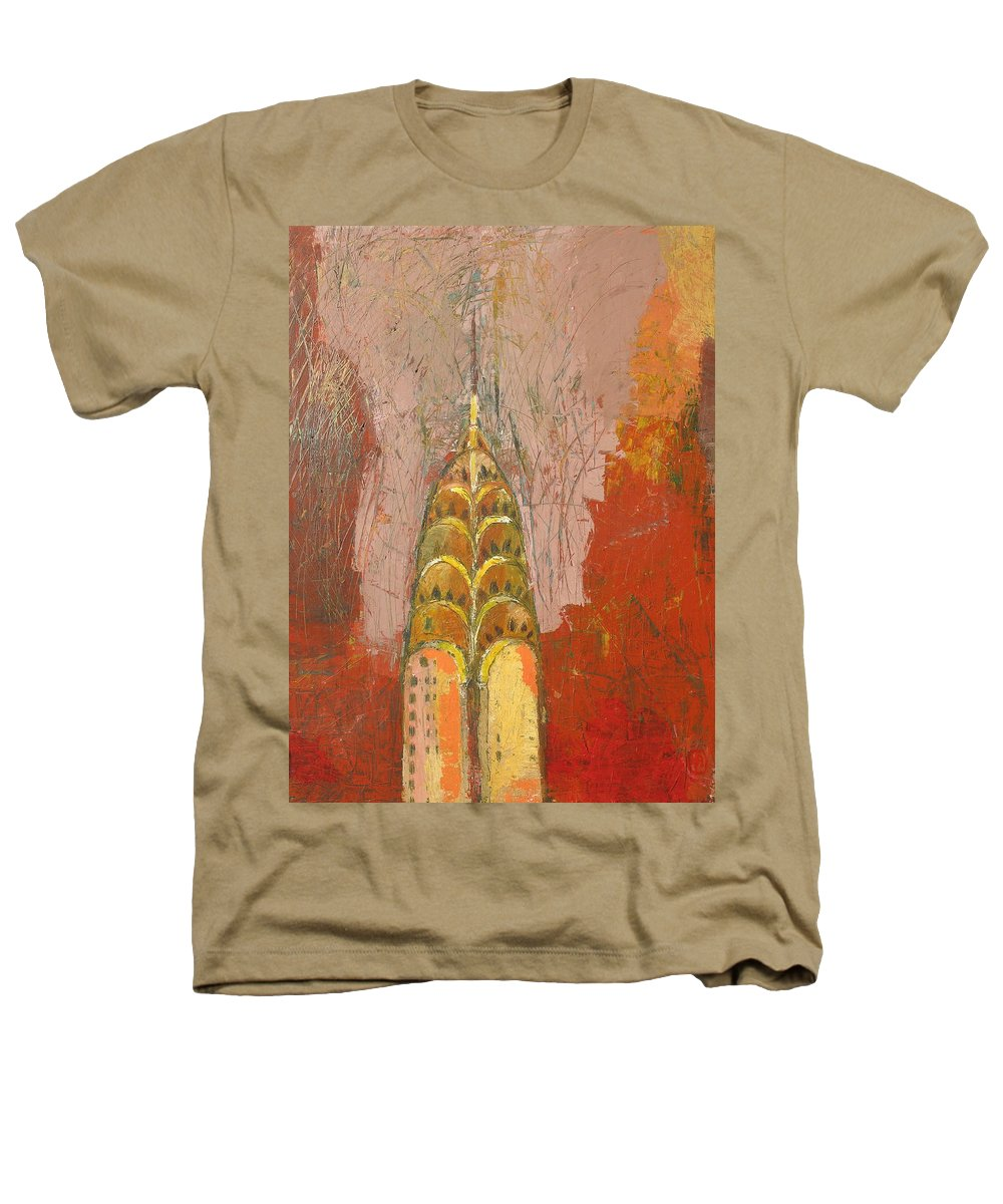 Abstract Cityscape Heathers T-Shirt featuring the painting The Chrysler In Motion by Habib Ayat