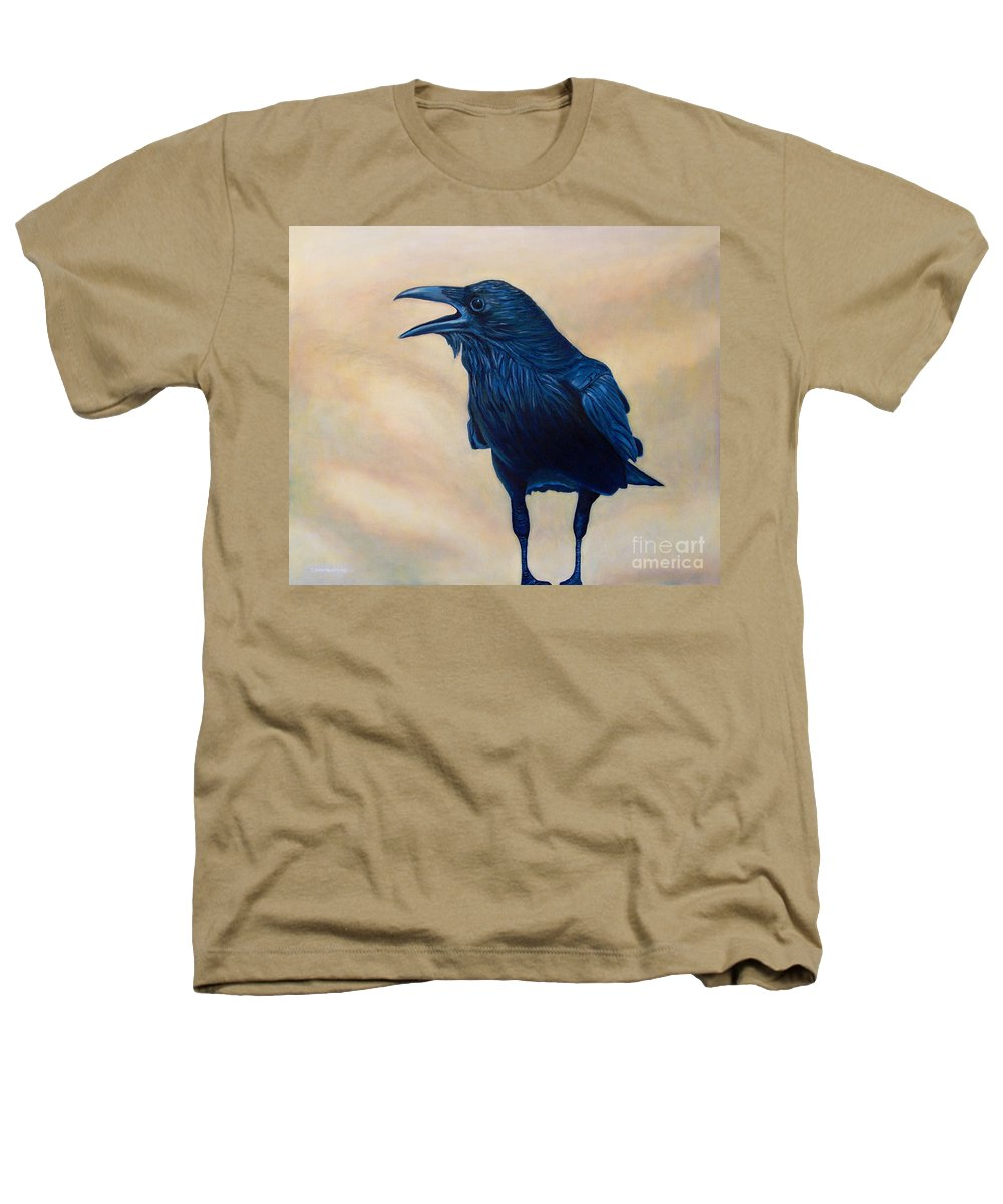 Raven Heathers T-Shirt featuring the painting The Conversation by Brian Commerford