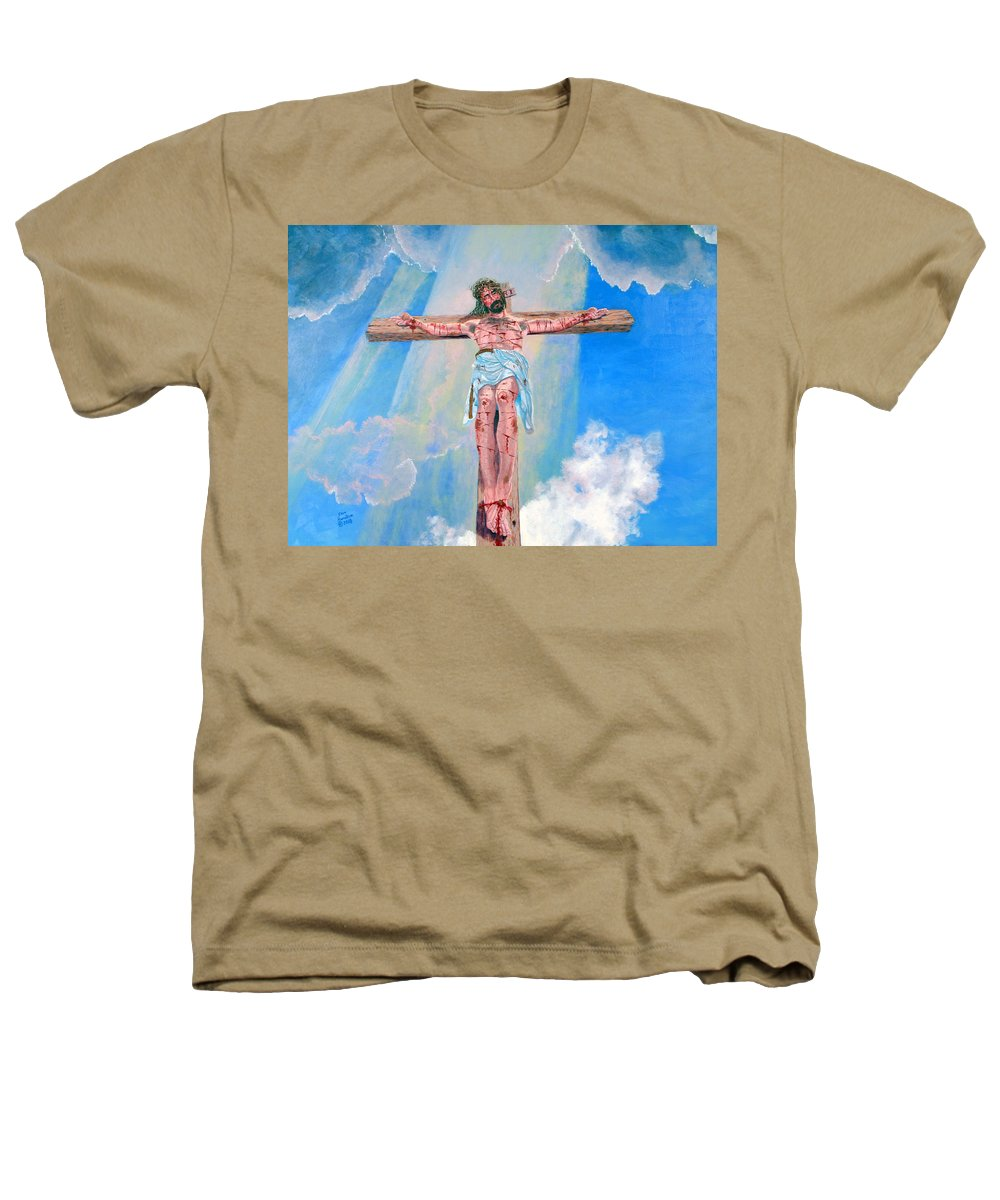 Christian Heathers T-Shirt featuring the painting The Crucifixion Daytime by Stan Hamilton
