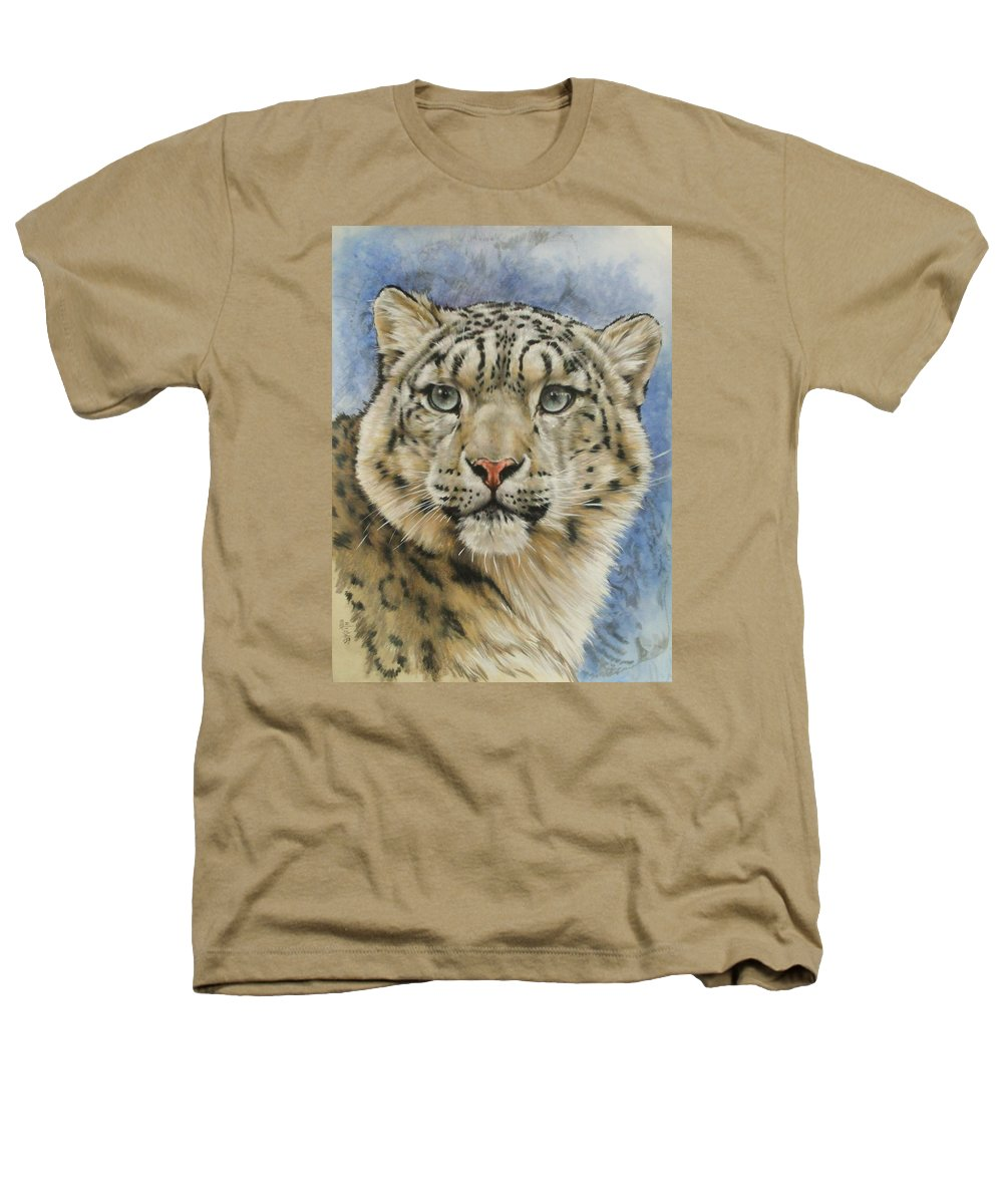 Snow Loepard Heathers T-Shirt featuring the mixed media The Gaze by Barbara Keith