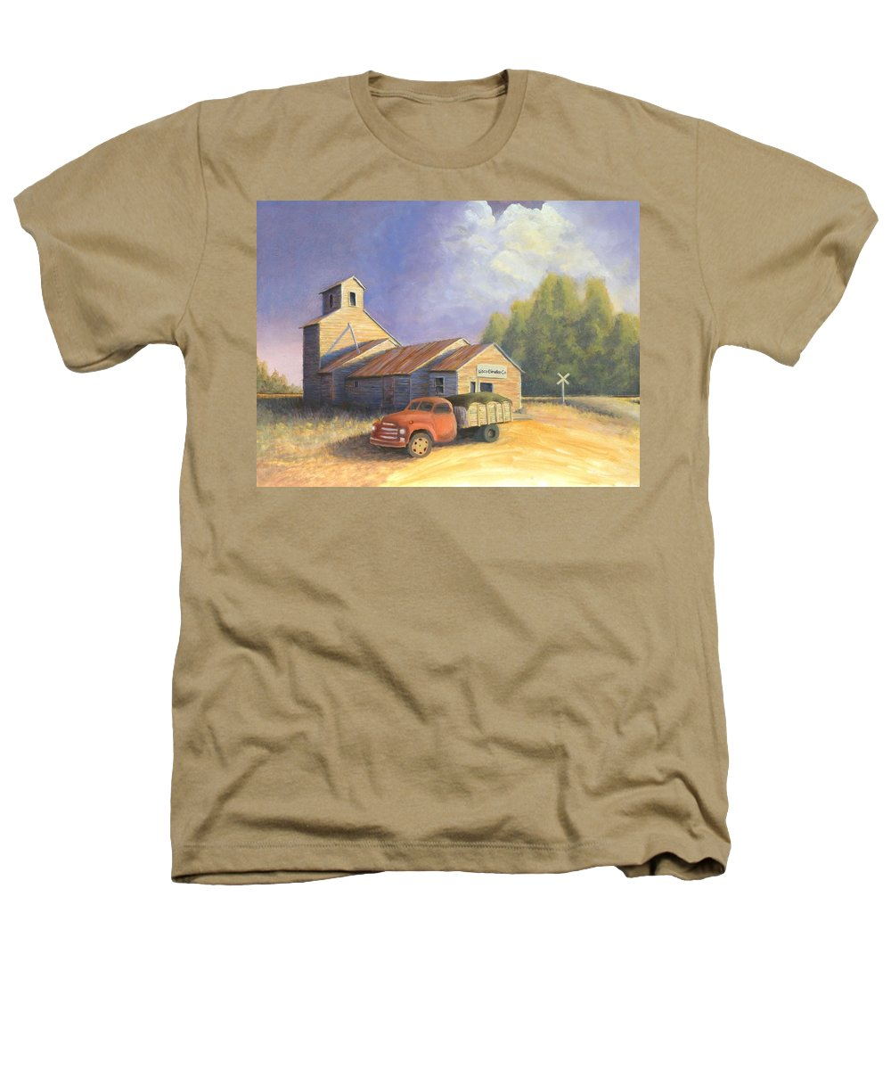 Nebraska Heathers T-Shirt featuring the painting The Lisco Elevator by Jerry McElroy