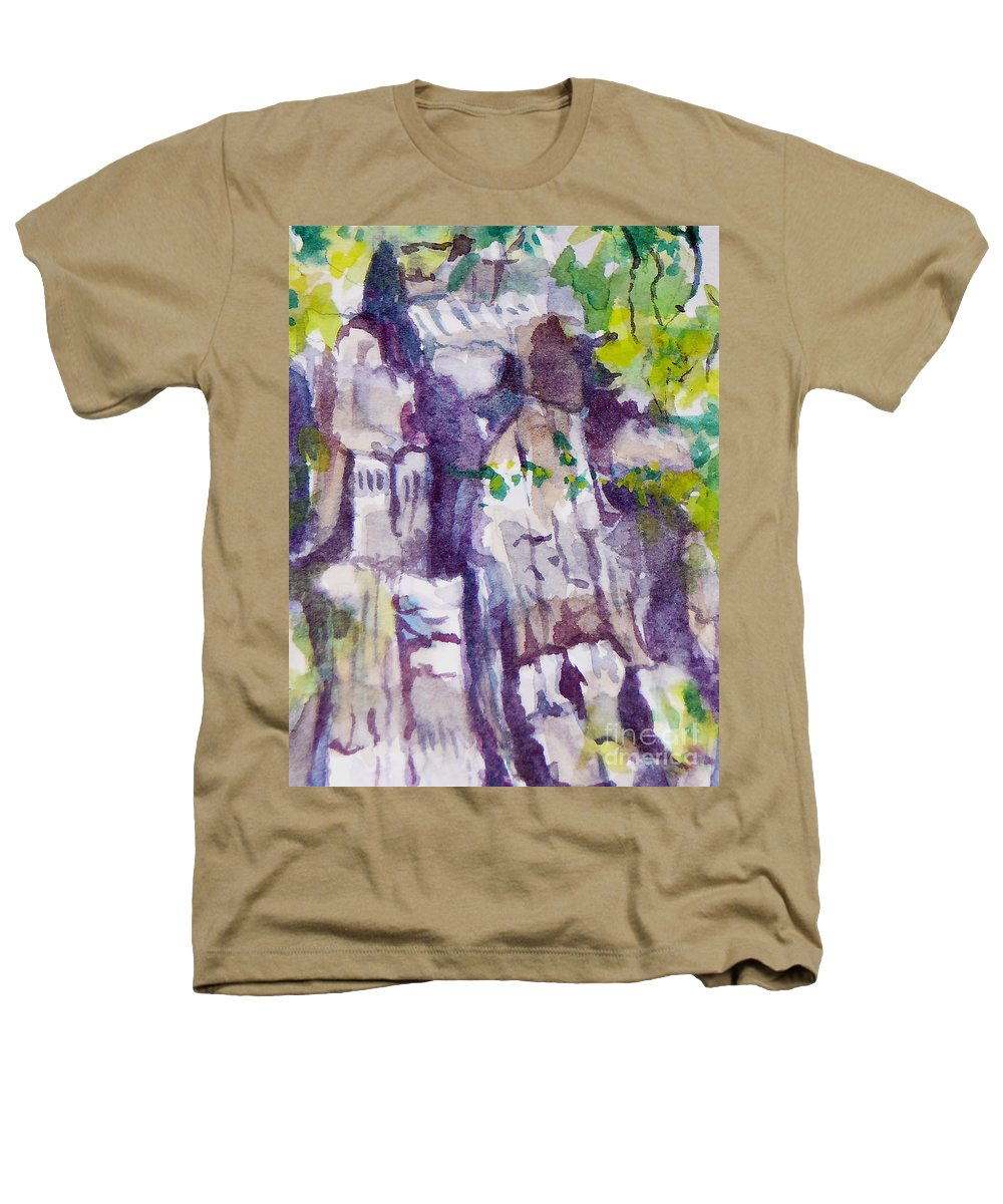 Purple Heathers T-Shirt featuring the painting The Little Climbing Wall by Jan Bennicoff