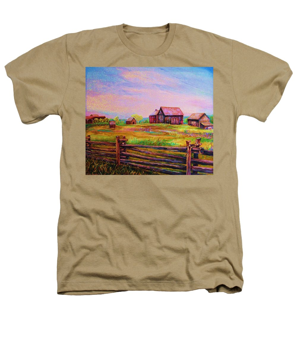 Ranches Heathers T-Shirt featuring the painting The Log Fence by Carole Spandau