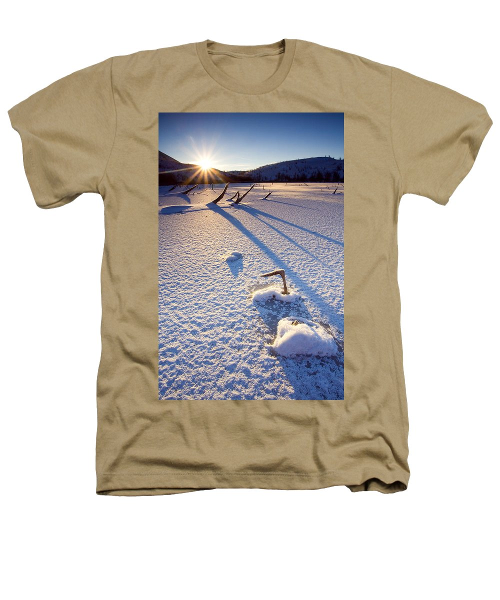 Sunrise Heathers T-Shirt featuring the photograph The Long Shadows Of Winter by Mike Dawson
