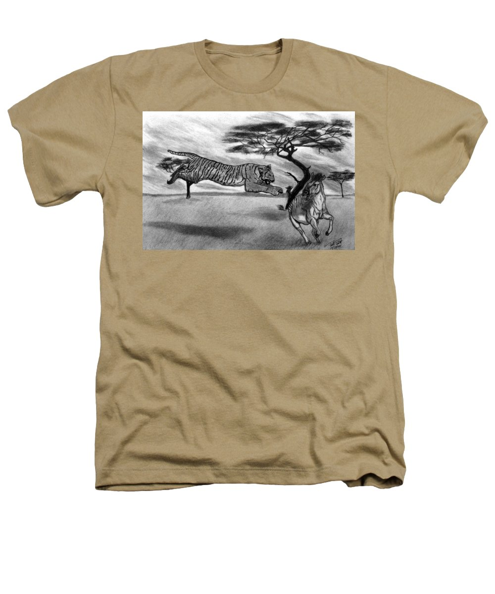 The Lunge Heathers T-Shirt featuring the drawing The Lunge by Peter Piatt