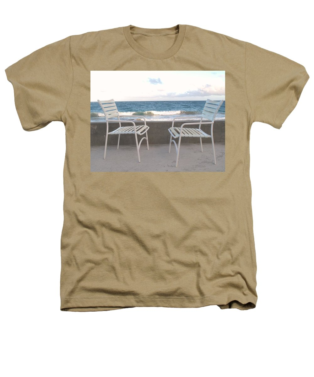 Seascape Heathers T-Shirt featuring the photograph The Meeting by Ian MacDonald