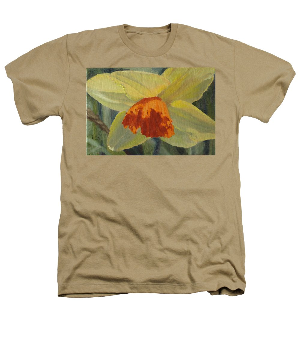 Flower Heathers T-Shirt featuring the painting The Nodding Daffodil by Lea Novak