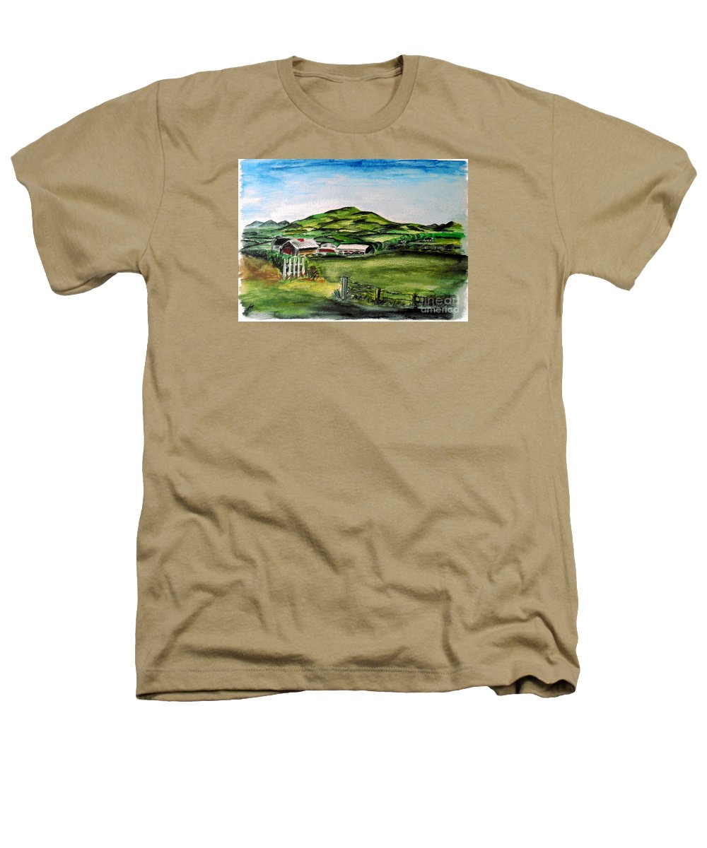 Landscape Heathers T-Shirt featuring the painting The Old Farm by Alan Hogan