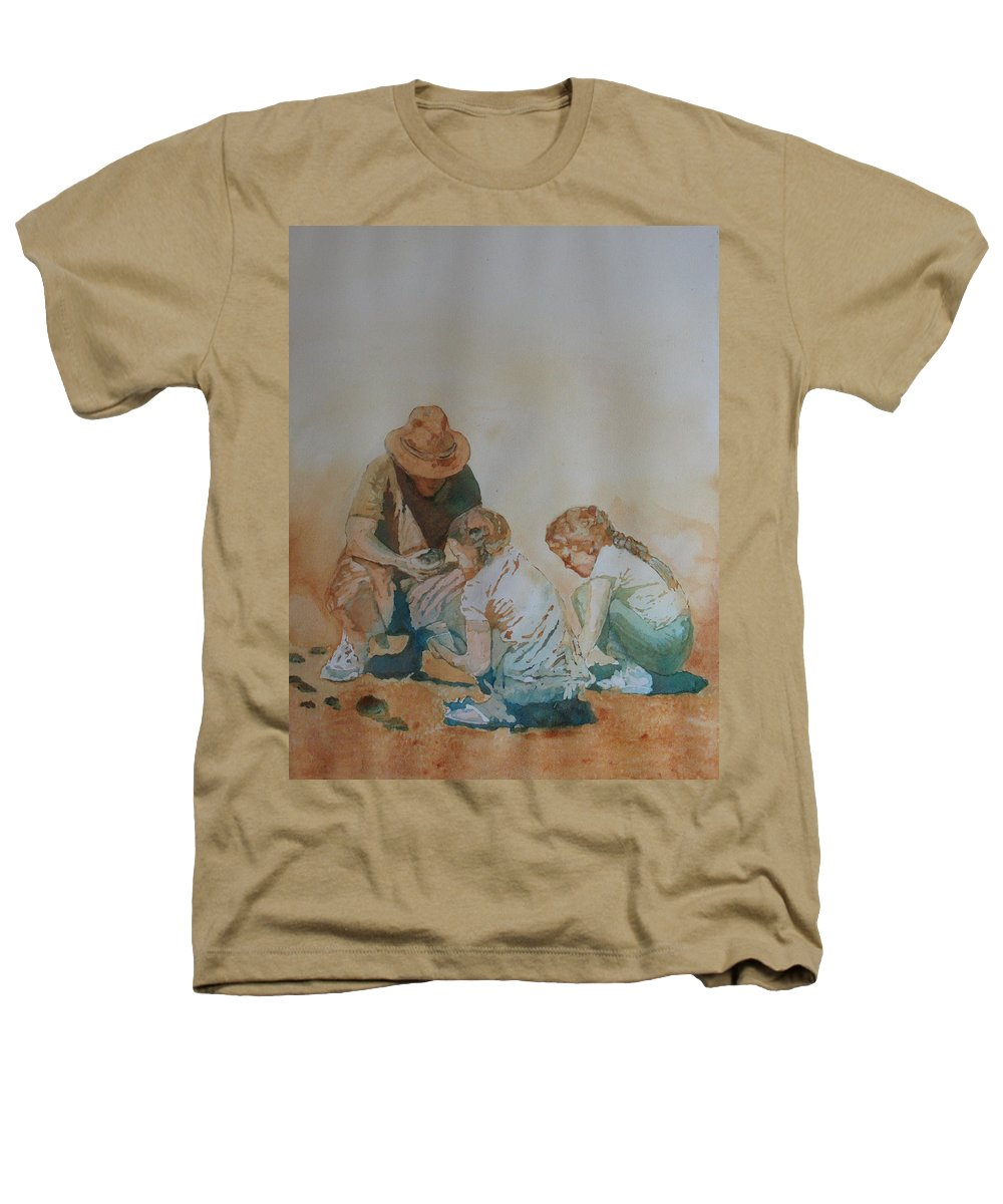 Fathers Heathers T-Shirt featuring the painting The Pumice Seekers by Jenny Armitage