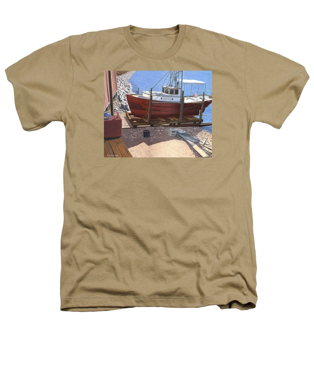 Fishing Boat Heathers T-Shirt featuring the painting The Red Troller by Gary Giacomelli