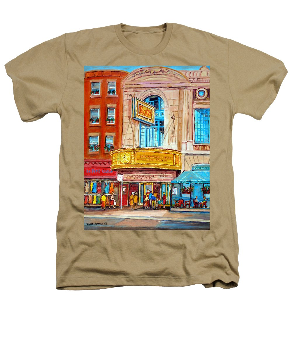 Montreal Heathers T-Shirt featuring the painting The Rialto Theatre Montreal by Carole Spandau