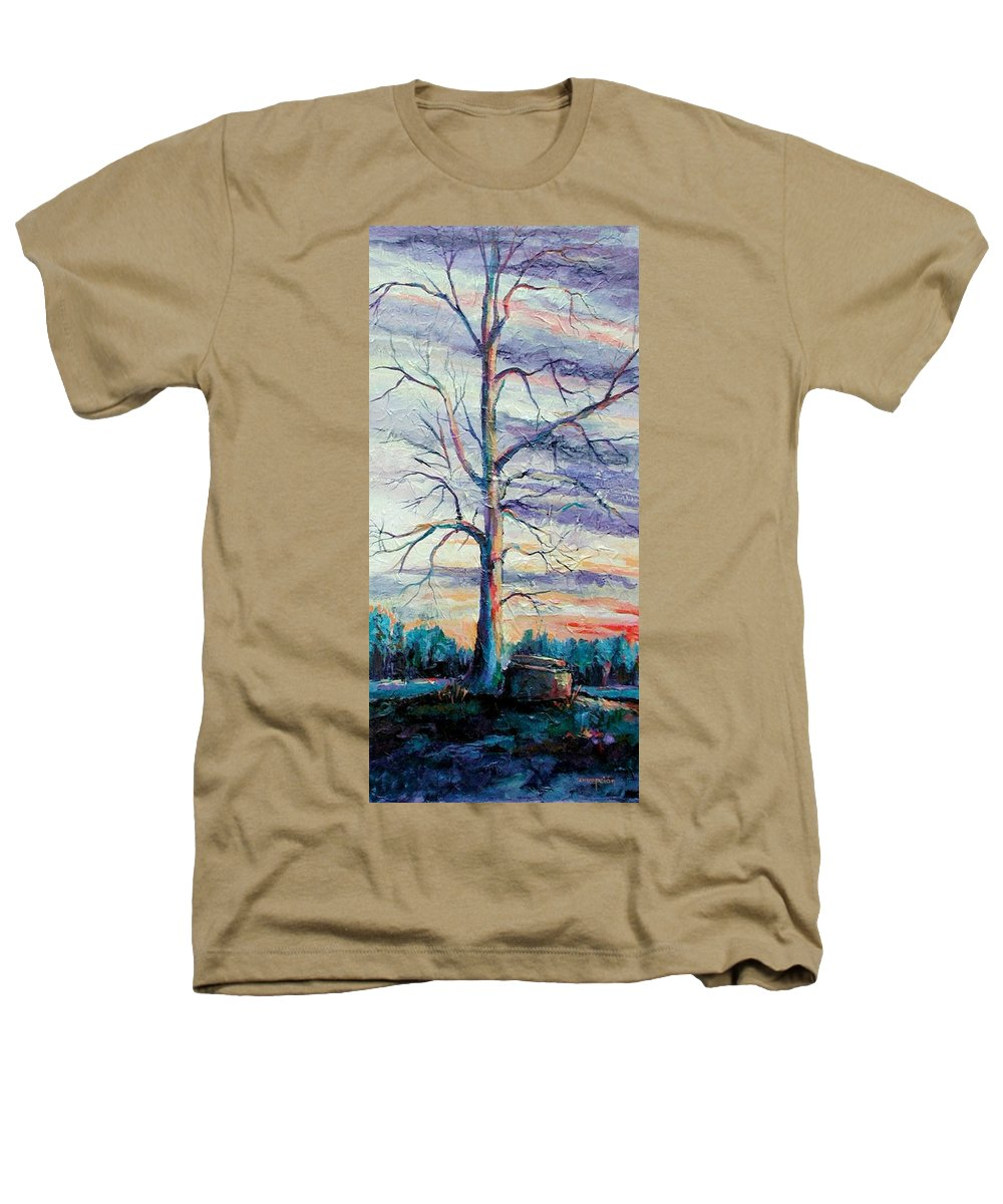 Lone Tree Heathers T-Shirt featuring the painting The Sentinel by Ginger Concepcion