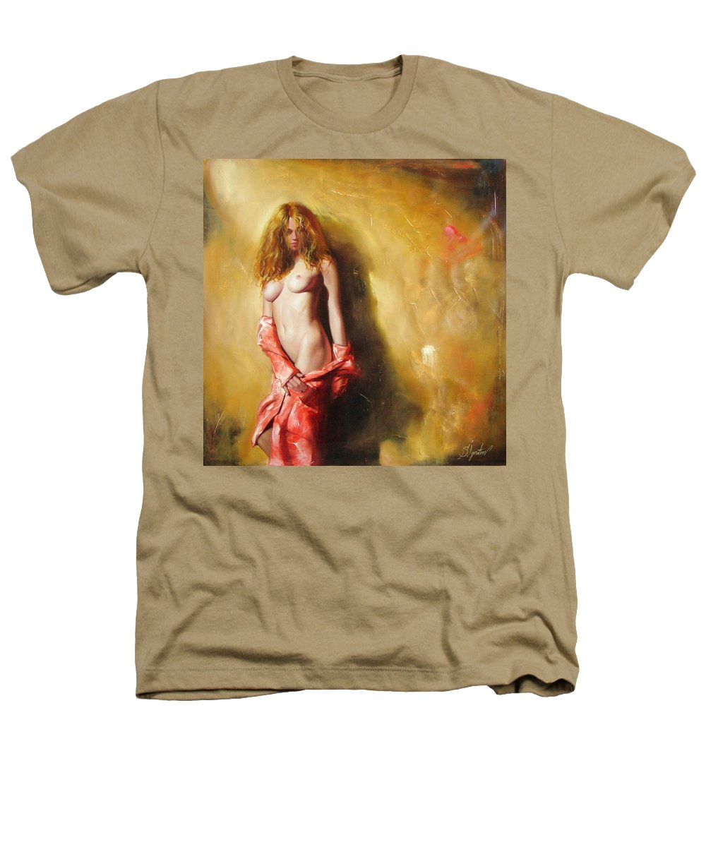 Art Heathers T-Shirt featuring the painting The Sun In Red by Sergey Ignatenko