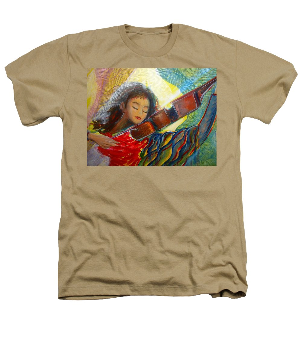 Violin Heathers T-Shirt featuring the painting The Sweetest Sounds by Regina Walsh