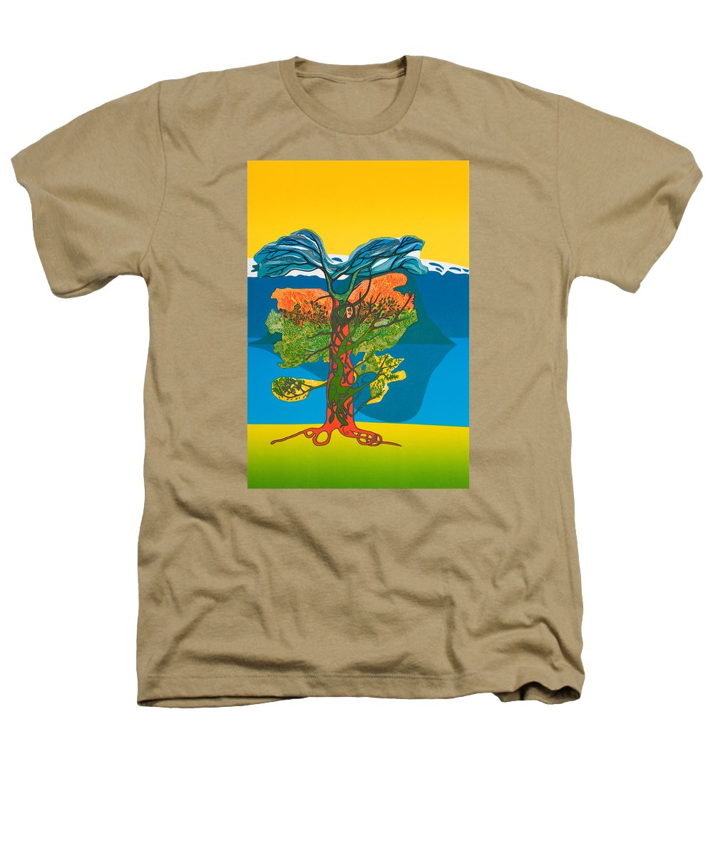 Landscape Heathers T-Shirt featuring the mixed media The Tree Of Life. From The Viking Saga. by Jarle Rosseland