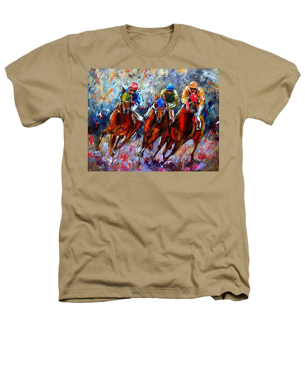 Horses Heathers T-Shirt featuring the painting The Turn 2 by Debra Hurd