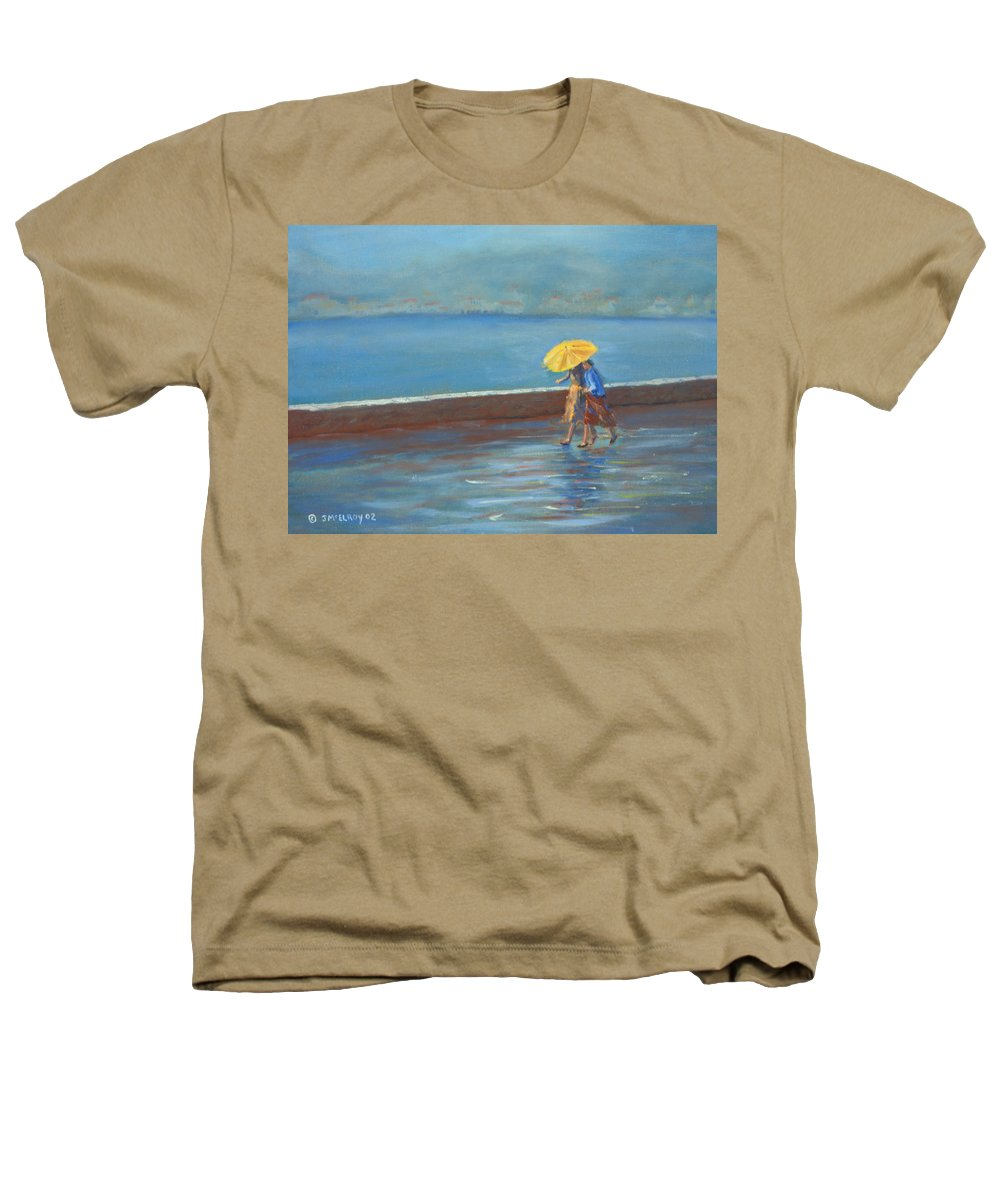 Rain Heathers T-Shirt featuring the painting The Yellow Umbrella by Jerry McElroy
