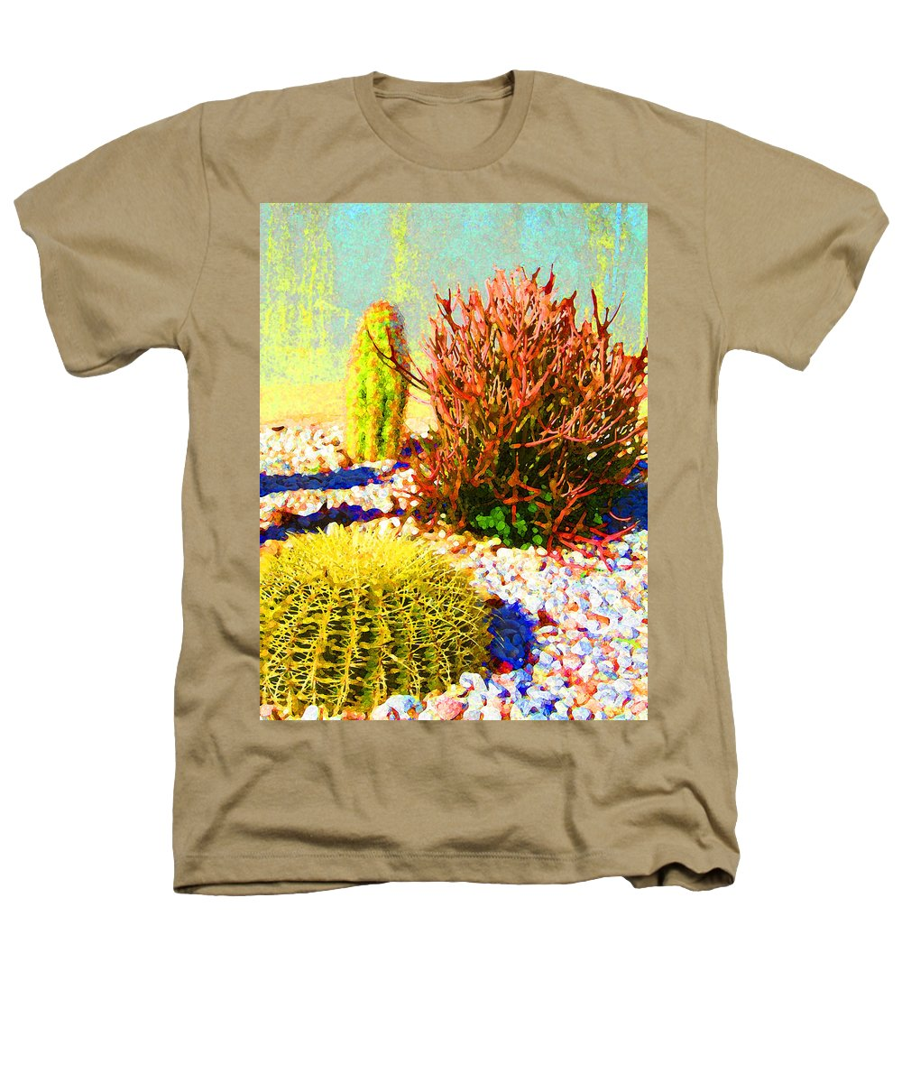 Landscape Heathers T-Shirt featuring the painting Three Cacti by Amy Vangsgard