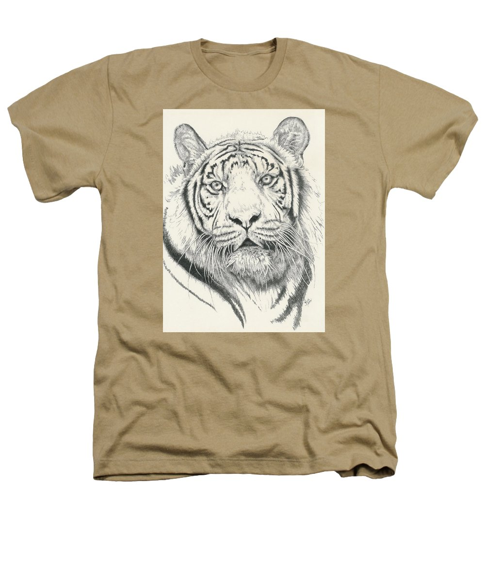 Tiger Heathers T-Shirt featuring the drawing Tigerlily by Barbara Keith