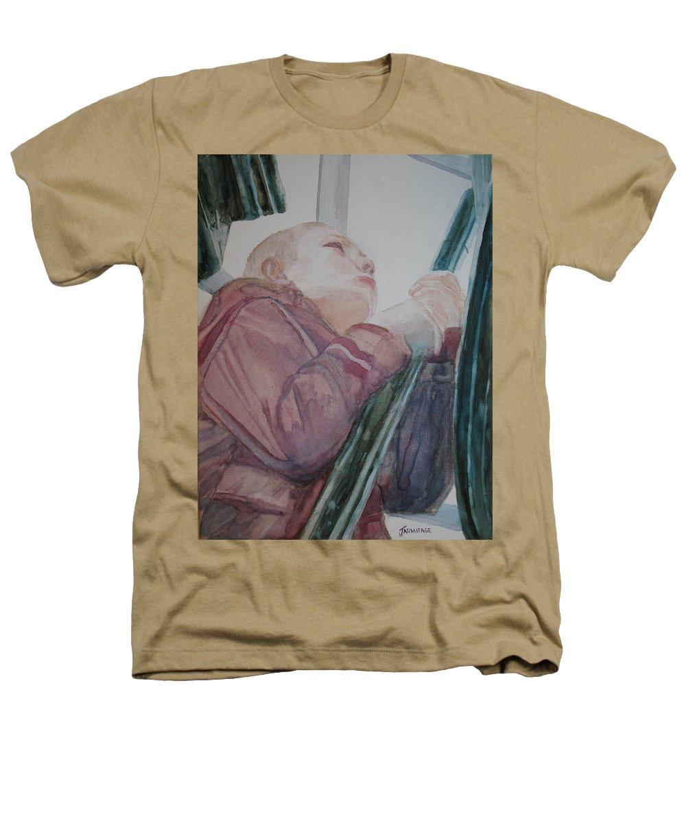 Boy Heathers T-Shirt featuring the painting Top Of The Lighthouse Stairs by Jenny Armitage