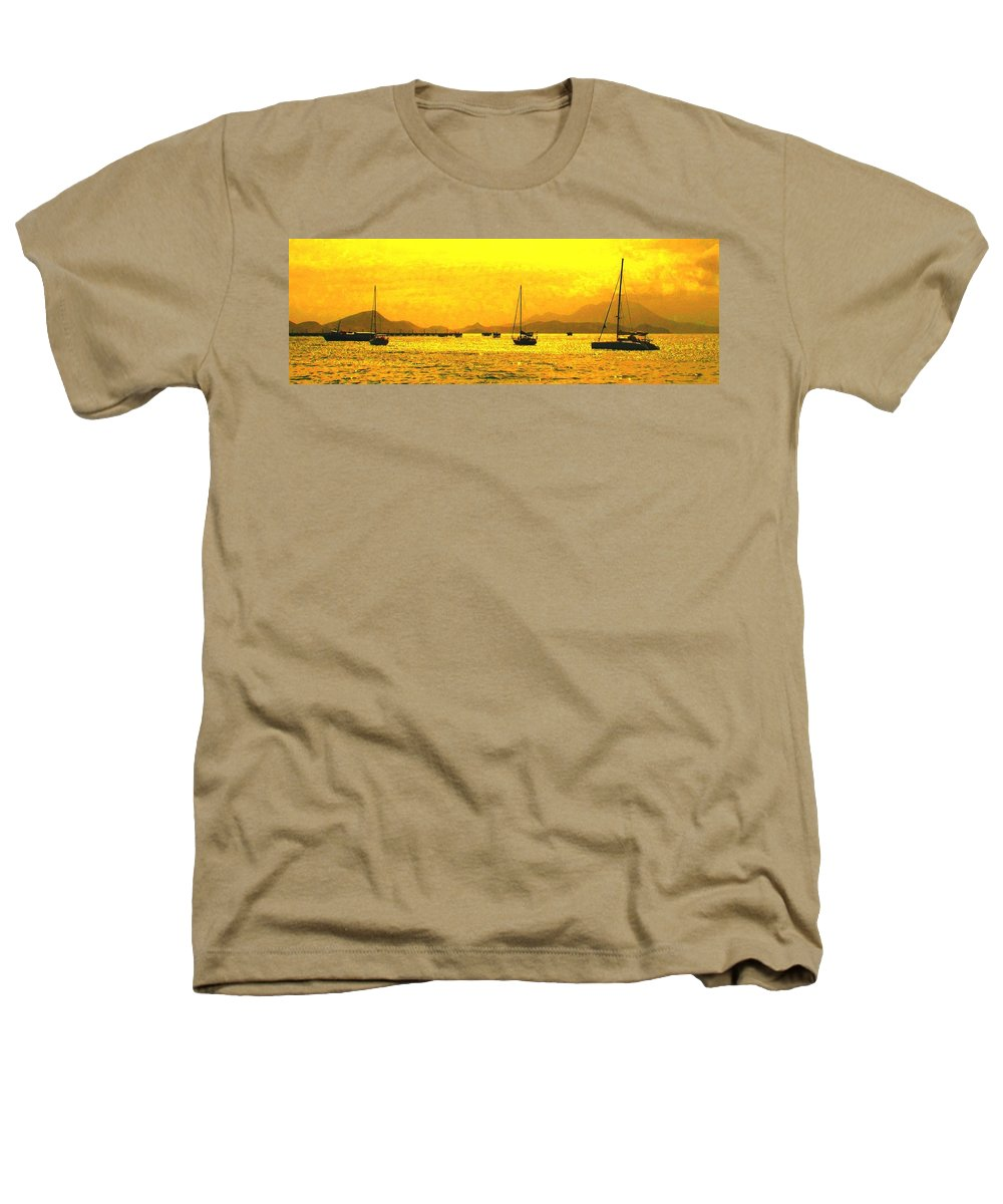 Basseterre Heathers T-Shirt featuring the photograph Towards Nevis by Ian MacDonald