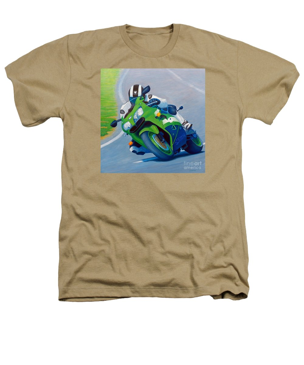 Motorcycle Heathers T-Shirt featuring the painting Track Day - Kawasaki Zx9 by Brian Commerford