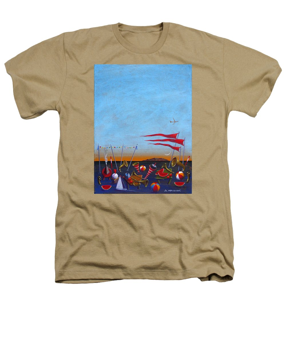 Piano Heathers T-Shirt featuring the painting Trumpets Of The Mediterranean by Dimitris Milionis