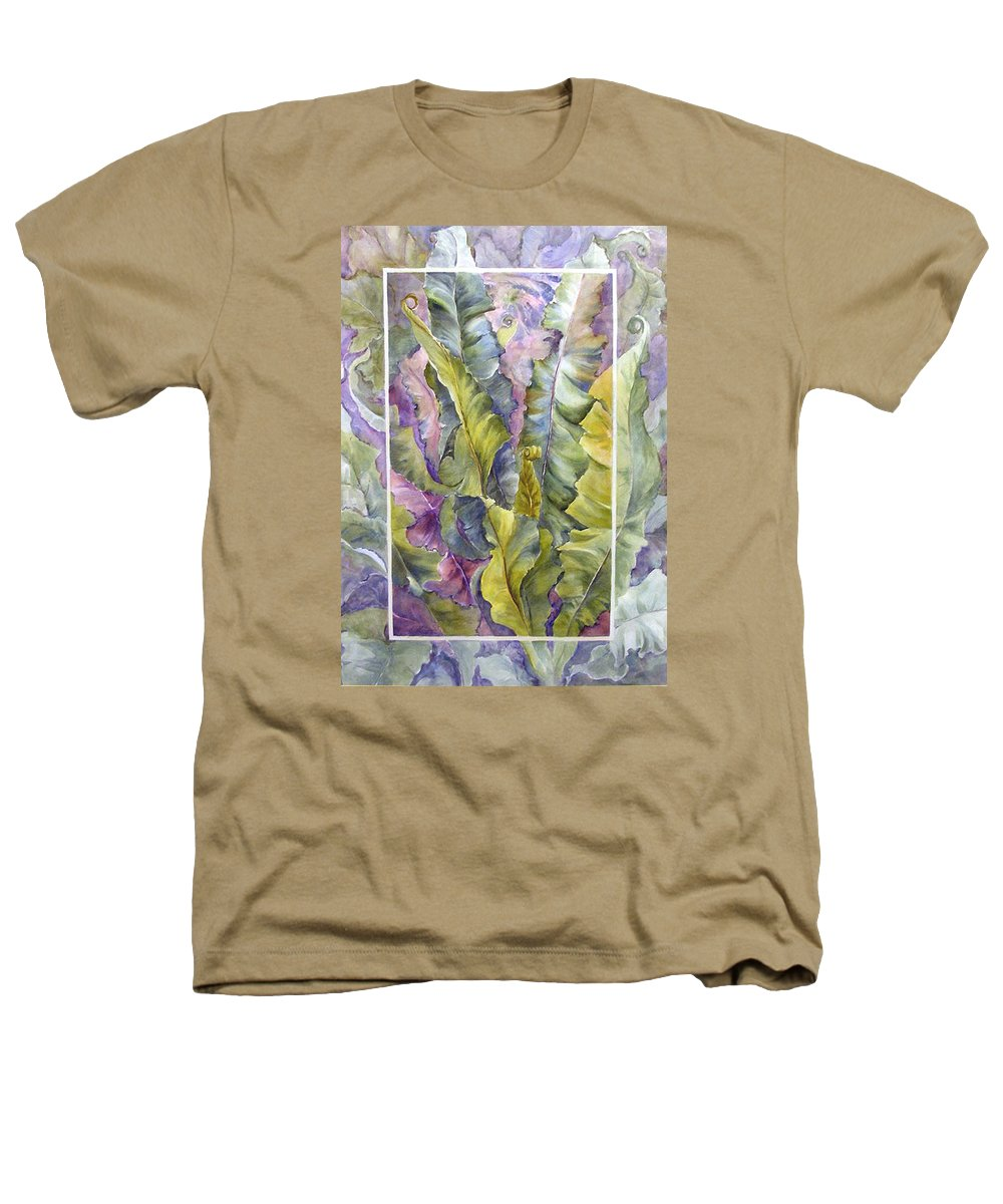 Ferns;floral; Heathers T-Shirt featuring the painting Turns Of Ferns by Lois Mountz