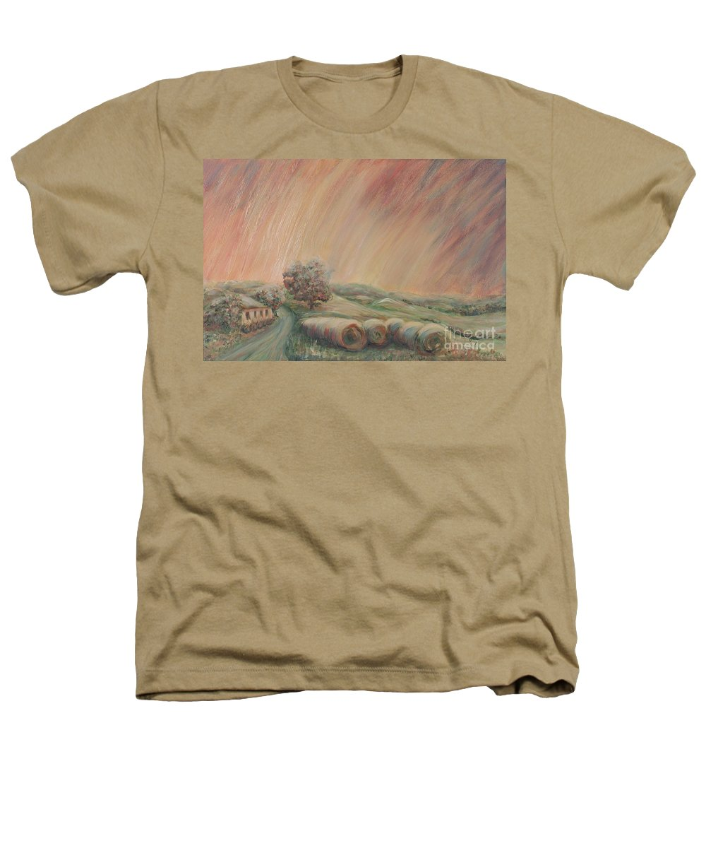 Landscape Heathers T-Shirt featuring the painting Tuscany Hayfields by Nadine Rippelmeyer
