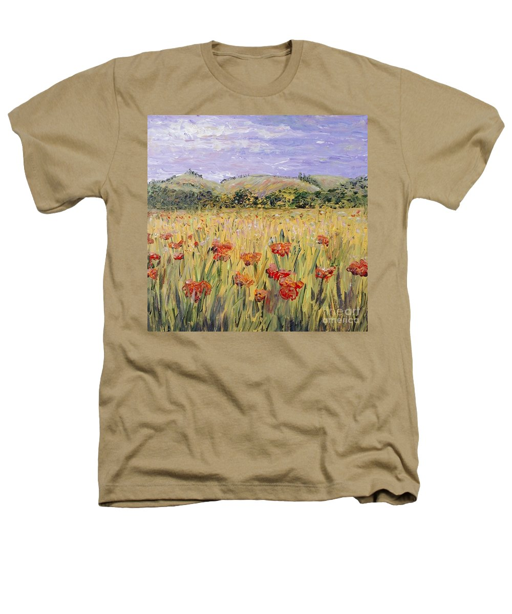 Poppies Heathers T-Shirt featuring the painting Tuscany Poppies by Nadine Rippelmeyer