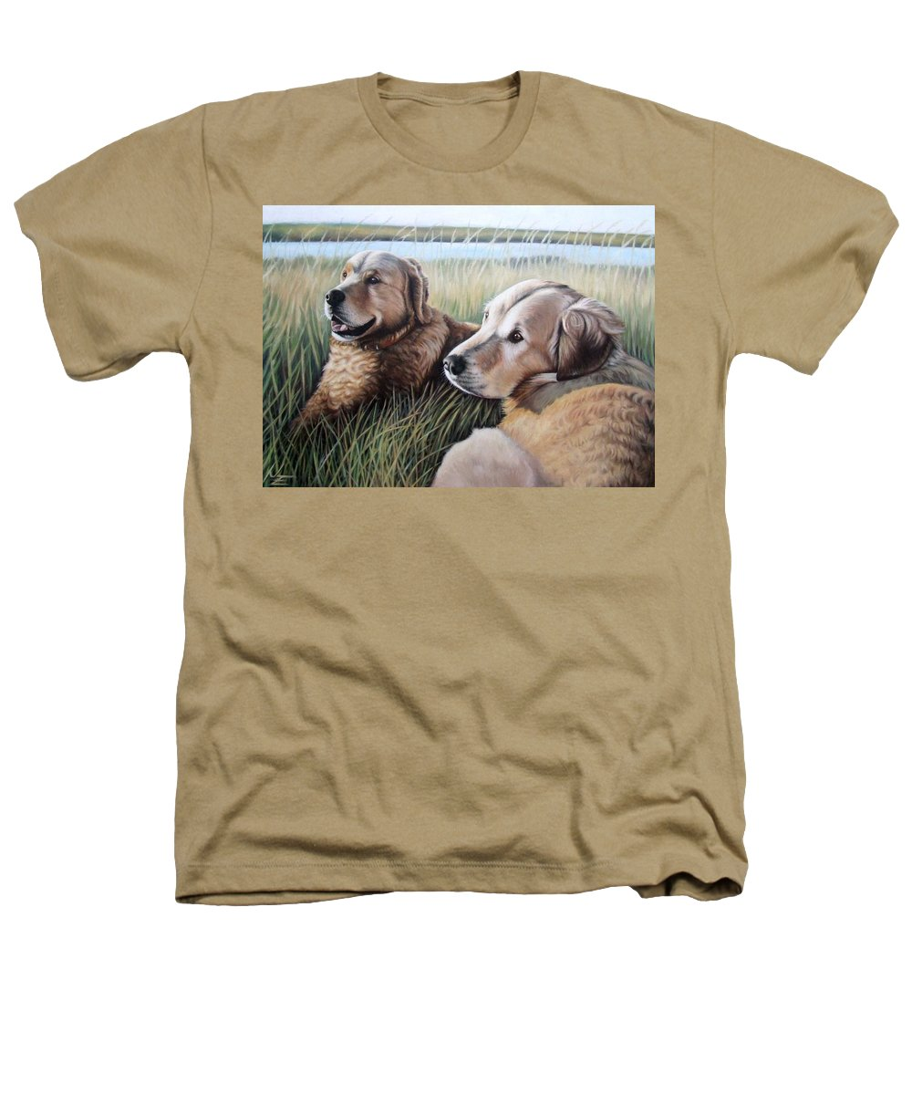 Dogs Heathers T-Shirt featuring the painting Two Golden Retriever by Nicole Zeug