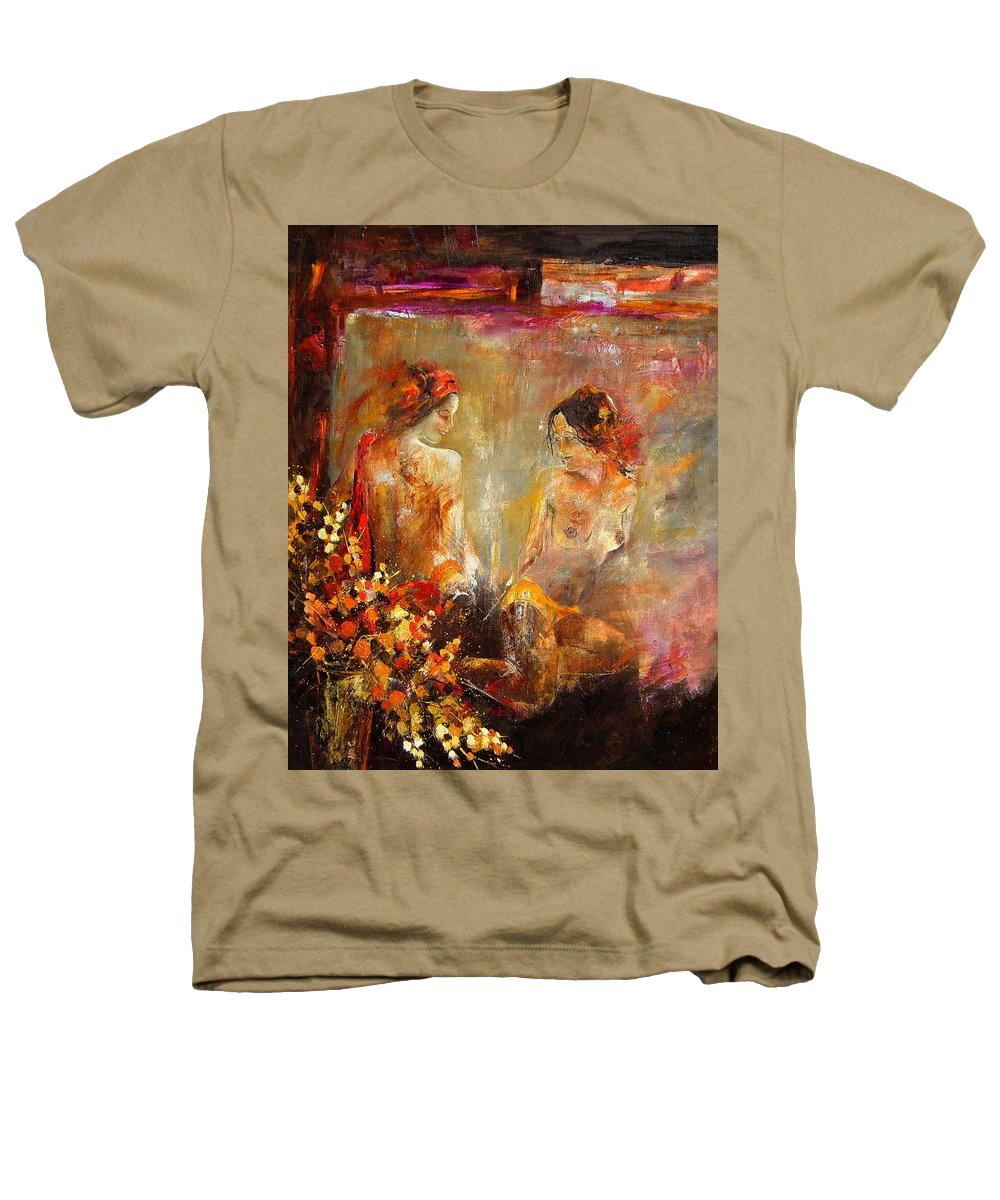 Girl Nude Heathers T-Shirt featuring the painting Two Nudes by Pol Ledent