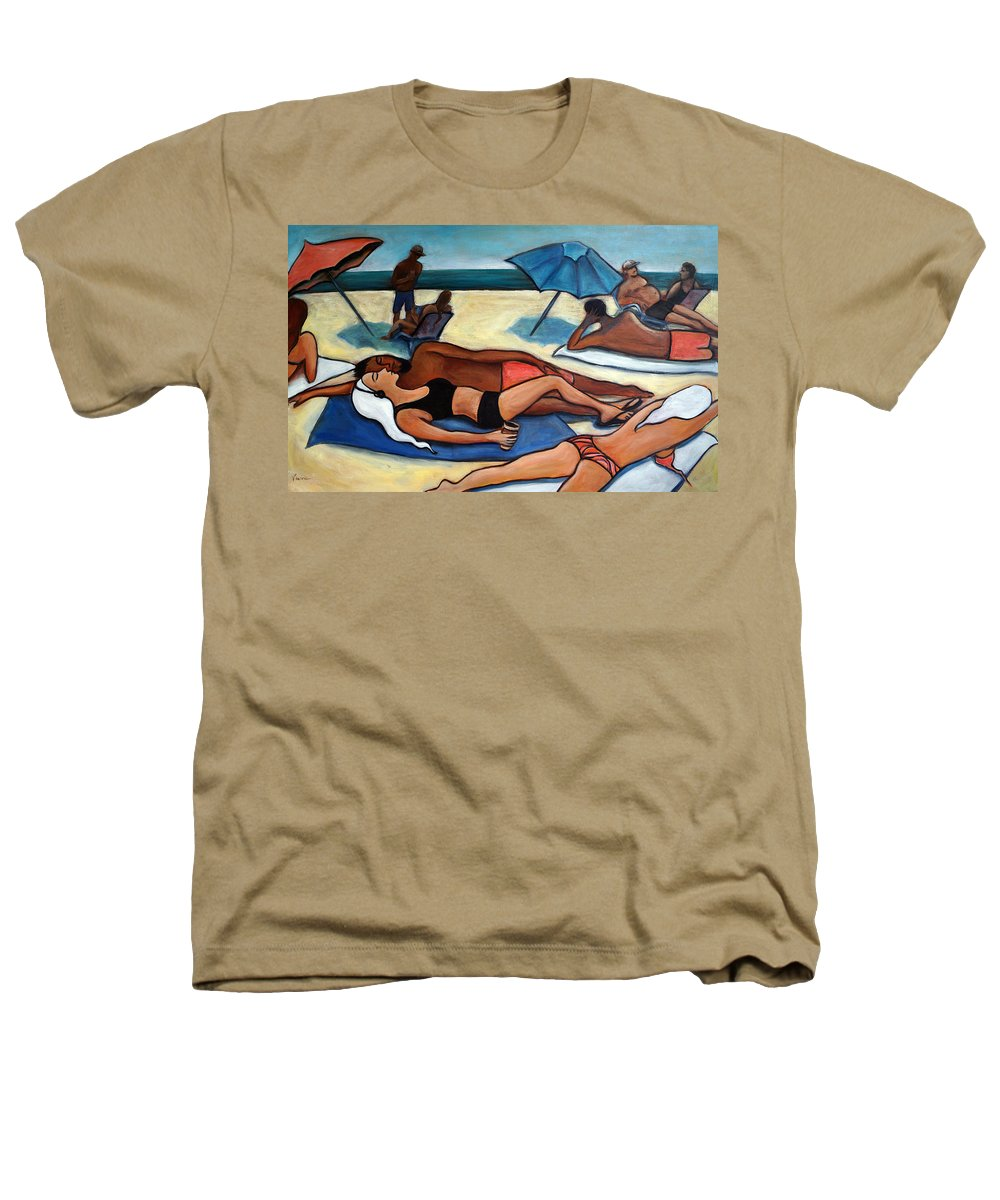 Beach Scene Heathers T-Shirt featuring the painting Un Journee A La Plage by Valerie Vescovi