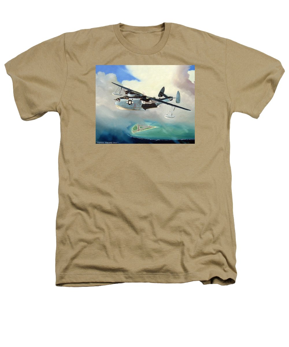 Military Heathers T-Shirt featuring the painting Uncle Bubba's Flying Boat by Marc Stewart