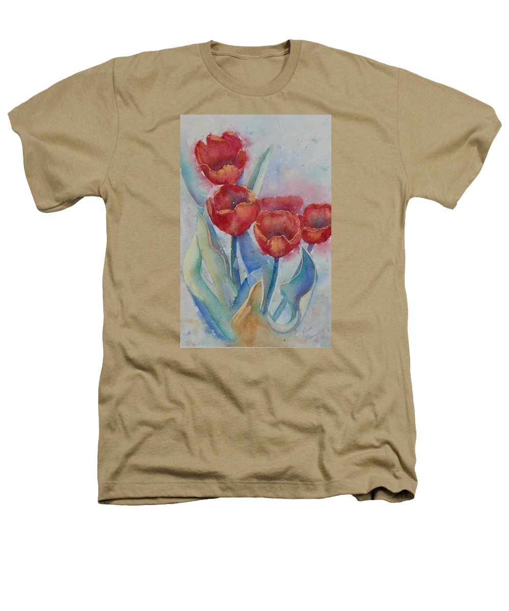 Flowers Heathers T-Shirt featuring the painting Undersea Tulips by Ruth Kamenev