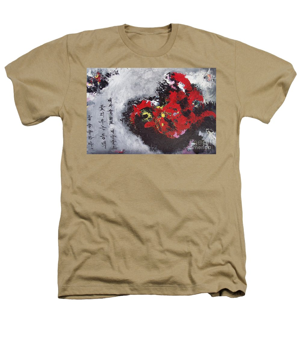 Poetry Paintings Heathers T-Shirt featuring the painting Unread Poem Black And Red Paintings by Seon-Jeong Kim