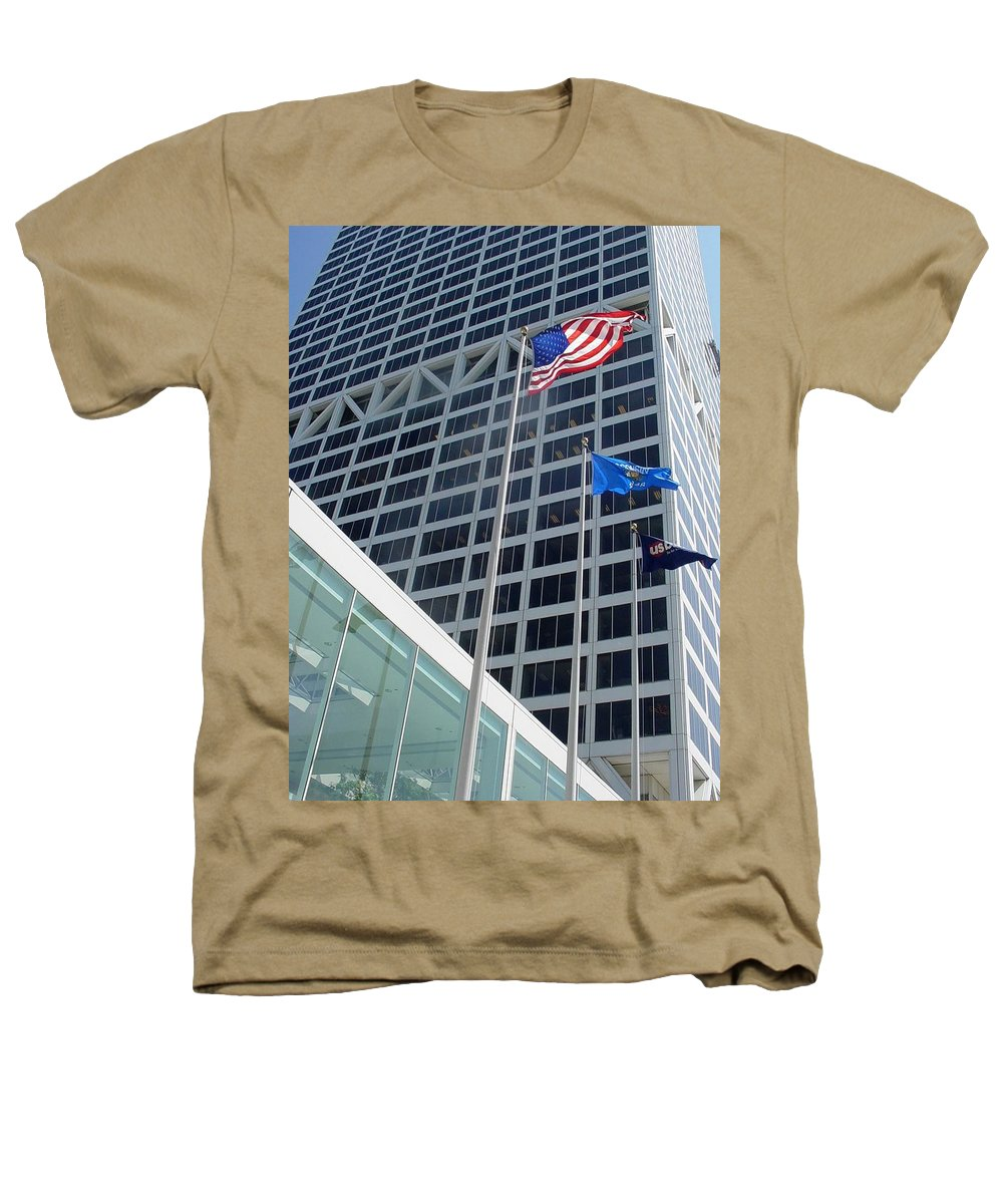 Us Bank Heathers T-Shirt featuring the photograph Us Bank With Flags by Anita Burgermeister