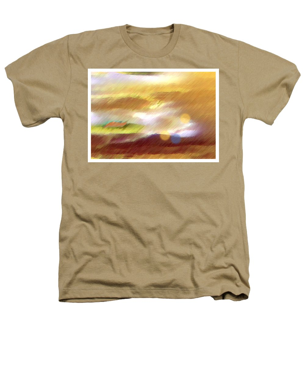 Landscape Heathers T-Shirt featuring the painting Valleylights by Anil Nene