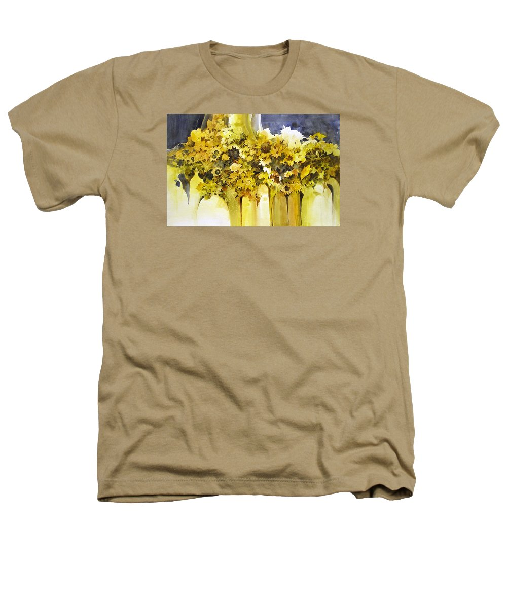 Yellow Flowers;sunflowers;vases;floral;contemporary Floral; Heathers T-Shirt featuring the painting Vases Full Of Blooms  by Lois Mountz