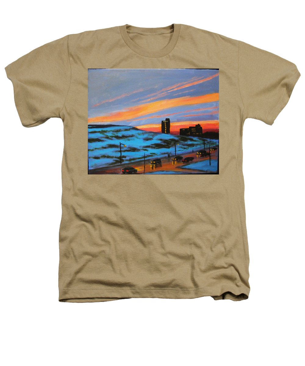 City At Night Heathers T-Shirt featuring the painting View From My Balcony by John Malone