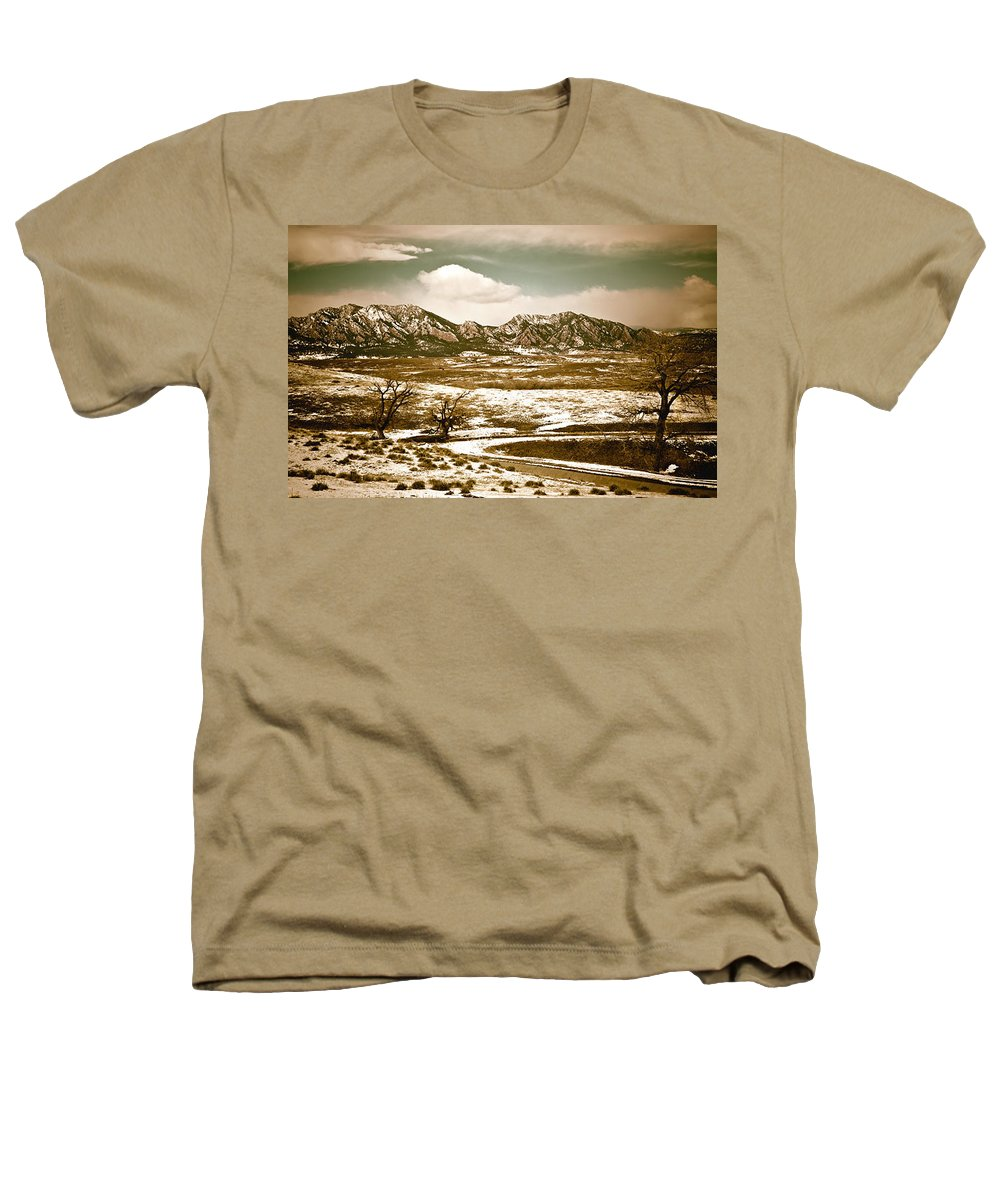 Landscape Heathers T-Shirt featuring the photograph Flatironsview From Superior by Marilyn Hunt