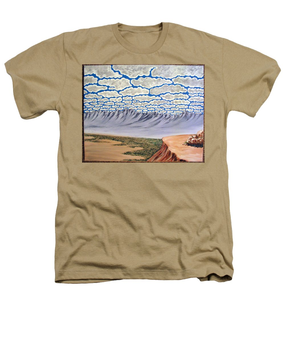 Desertscape Heathers T-Shirt featuring the painting View From The Mesa by Marco Morales