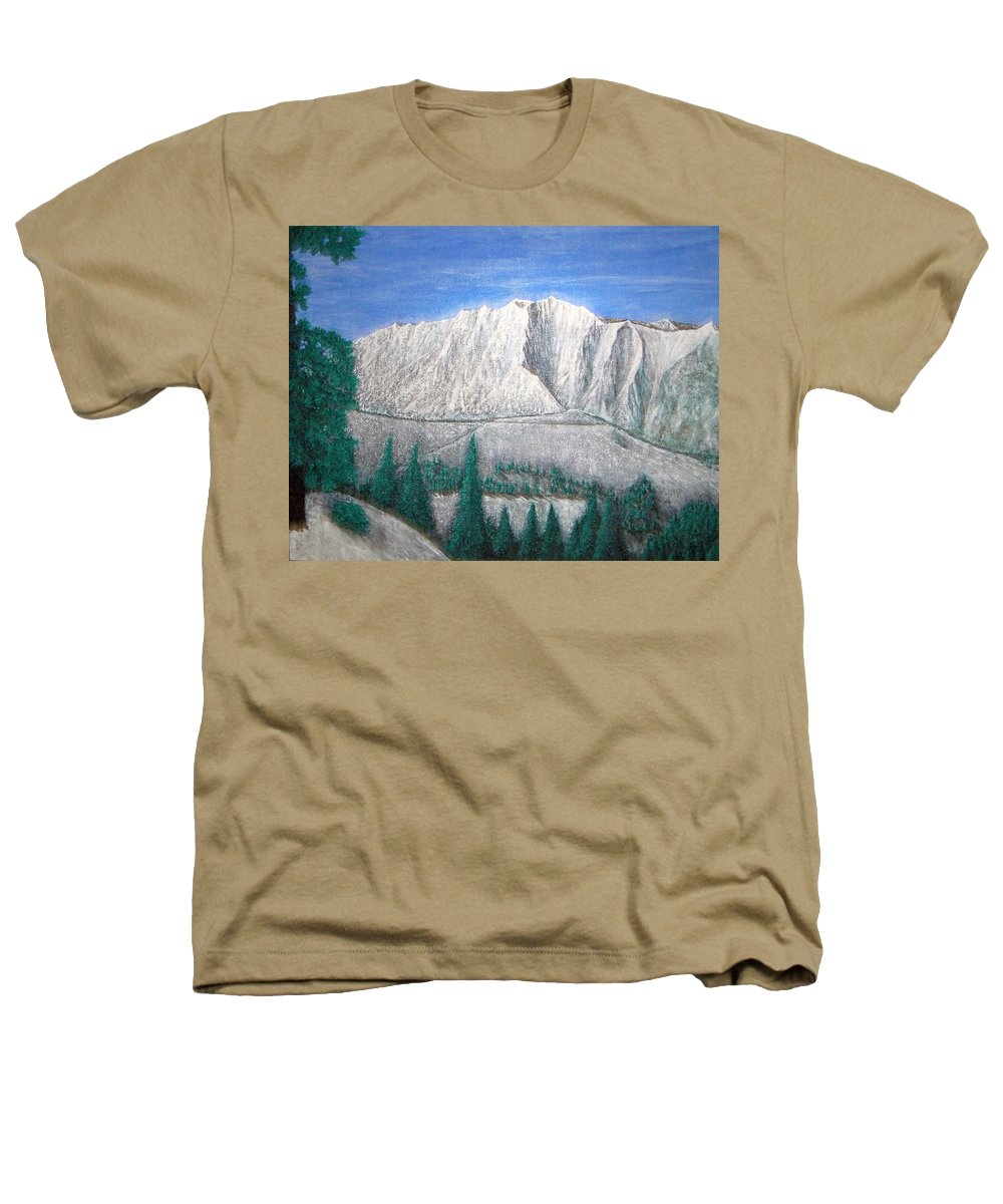 Snow Heathers T-Shirt featuring the painting Viewfrom Spruces by Michael Cuozzo