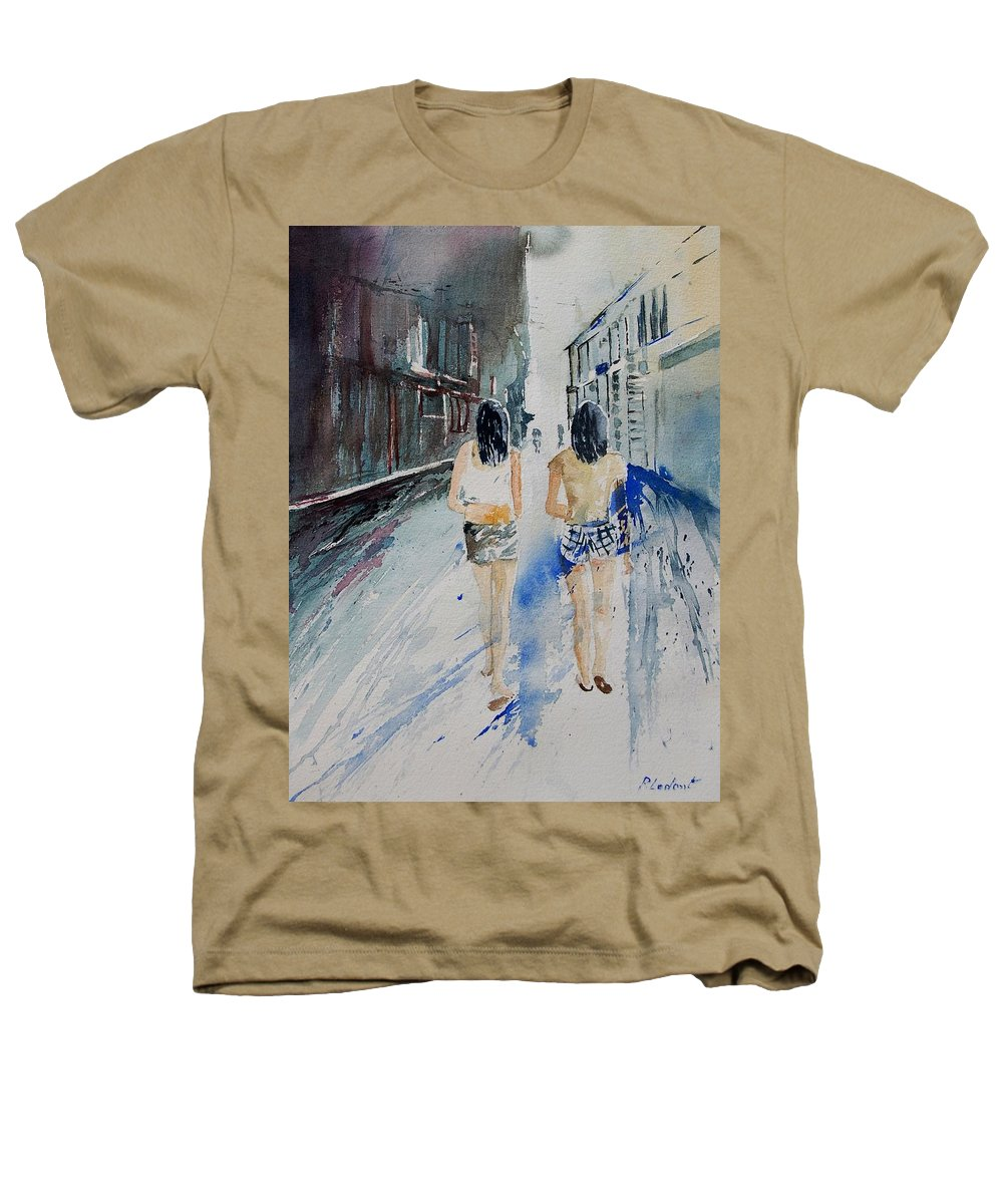 Girl Heathers T-Shirt featuring the painting Walking In The Street by Pol Ledent