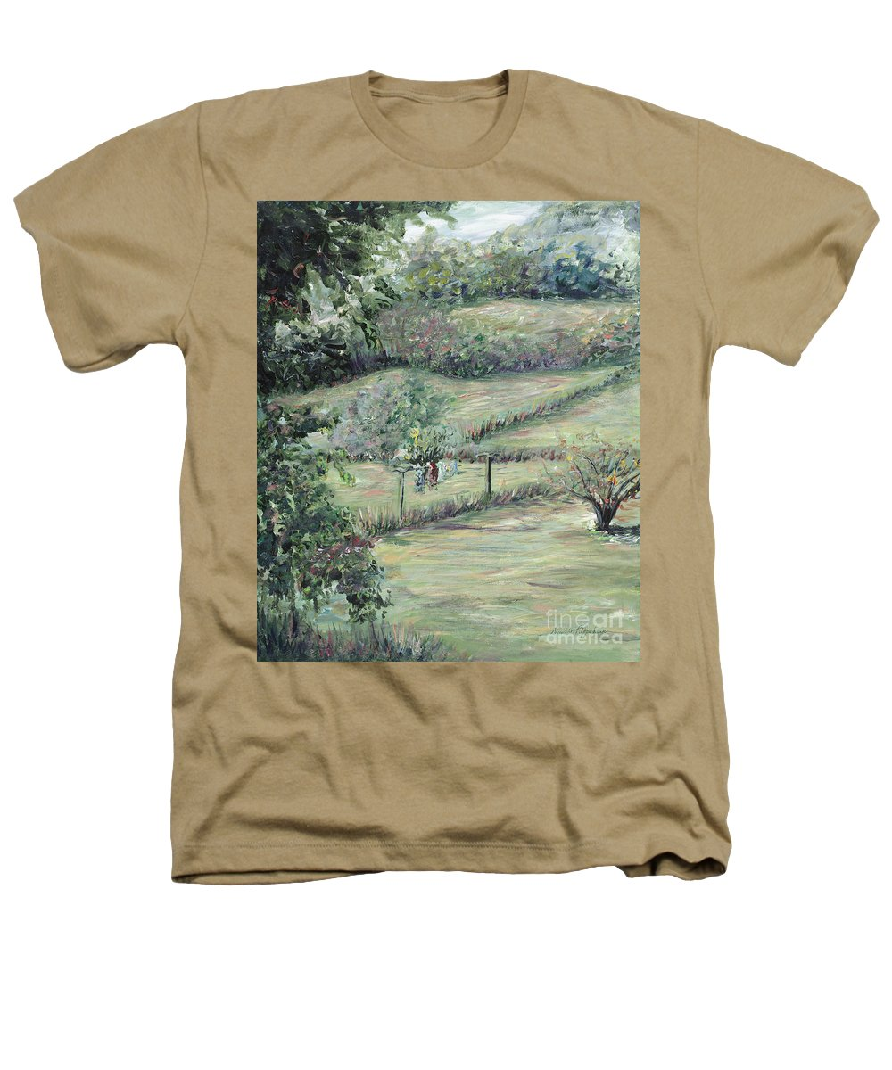 Landscape Heathers T-Shirt featuring the painting Washday In Provence by Nadine Rippelmeyer