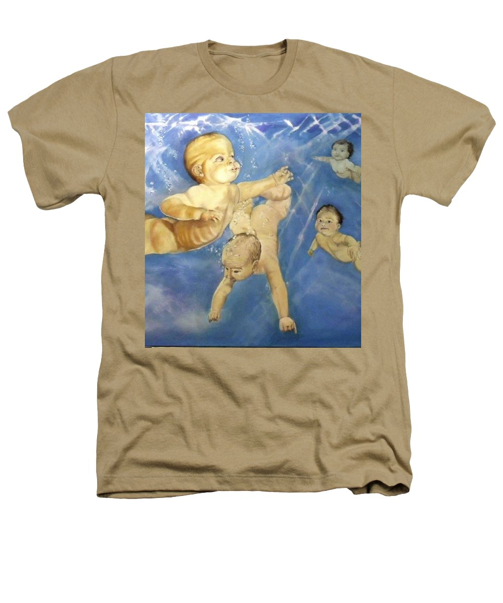 Babies Heathers T-Shirt featuring the painting Water Babies by Jane Simpson