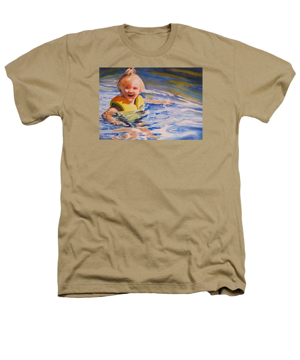 Swimming Heathers T-Shirt featuring the painting Water Baby by Karen Stark