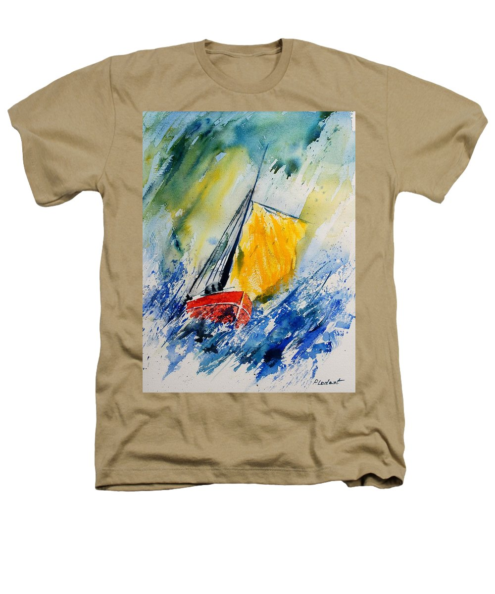 Sea Waves Ocean Boat Sailing Heathers T-Shirt featuring the painting Watercolor 280308 by Pol Ledent